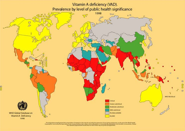 WHO world map showing areas with vitamin-A deficiency.
